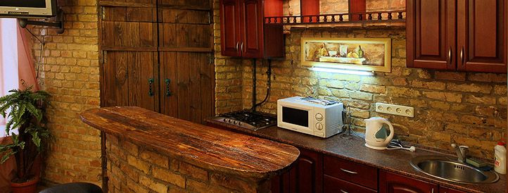 Kitchen of our antique Kiev apartment at Kostelna 9 next to Maidan